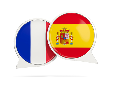 Chat bubbles of France and Spain isolated on white. 3D illustration
