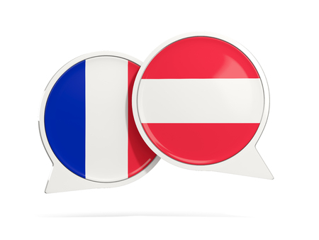 Chat bubbles of France and Austria isolated on white. 3D illustration