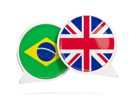 Chat bubbles of Brazil and UK isolated on white. 3D illustration