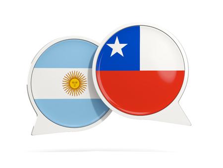 Chat de burbujas de Argentina y Chile aislado en blanco. Ilustración 3D