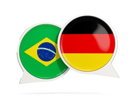 Chat bubbles of Brazil and Germany isolated on white. 3D illustration