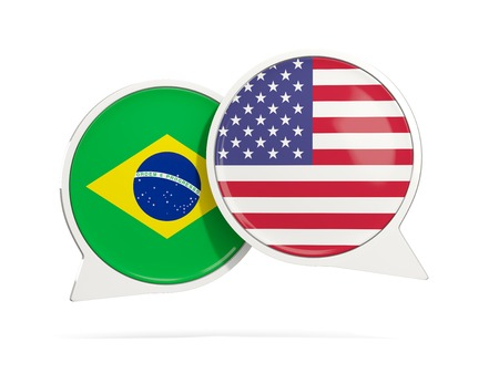 Chat bubbles of Brazil and USA isolated on white. 3D illustration Imagens