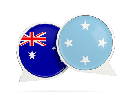 Chat bubbles of Australia and Micronesia isolated on white. 3D illustration