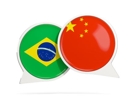 Chat bubbles of Brazil and China isolated on white. 3D illustration