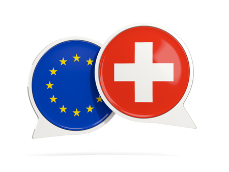 Chat bubbles of EU and Switzerland isolated on white. 3D illustration