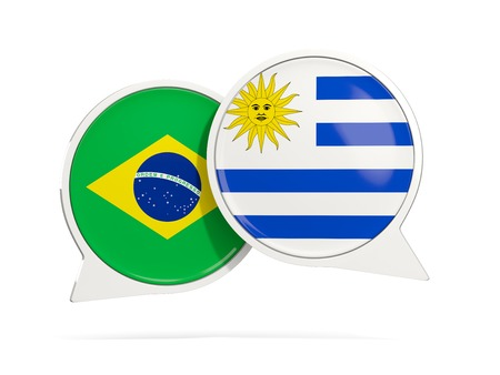 Chat bubbles of Brazil and Uruguay isolated on white. 3D illustration Stock Photo