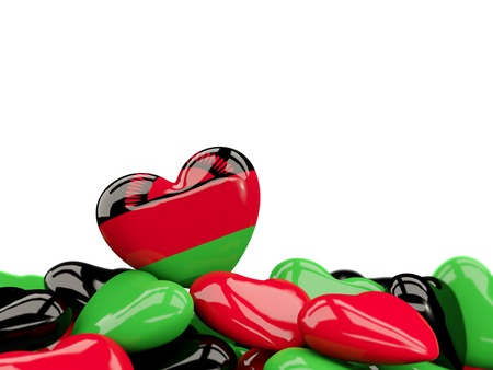 Heart with flag of malawi on top of colourfull hearts isolated on white. 3D illustration