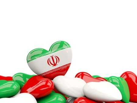Heart with flag of iran on top of colourfull hearts isolated on white. 3D illustration