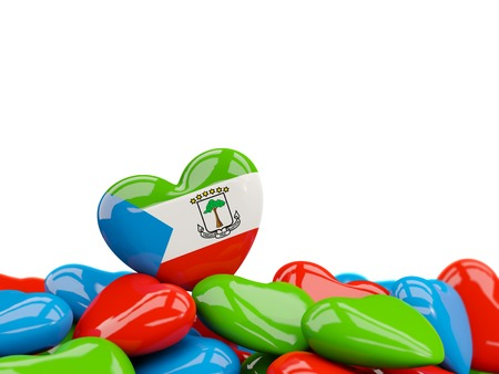 Heart with flag of equatorial guinea on top of colourfull hearts isolated on white. 3D illustration
