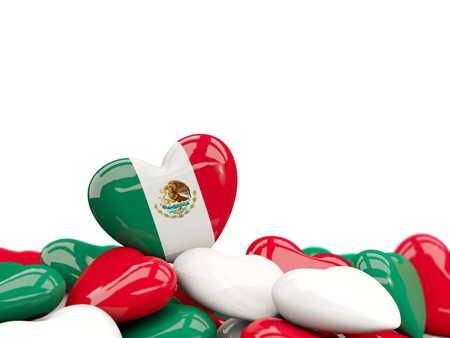 Heart with flag of mexico on top of colourfull hearts isolated on white. 3D illustration