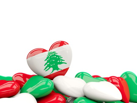 Heart with flag of lebanon on top of colourfull hearts isolated on white. 3D illustration Stock Photo
