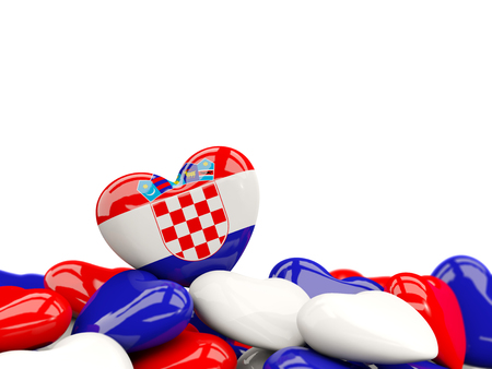 Heart with flag of croatia on top of colourfull hearts isolated on white. 3D illustration