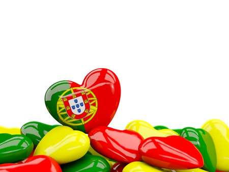 Heart with flag of portugal on top of colourfull hearts isolated on white. 3D illustration