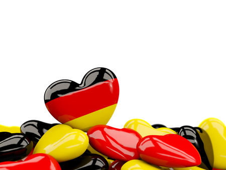 Heart with flag of germany on top of colourfull hearts isolated on white. 3D illustration