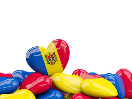 Heart with flag of moldova on top of colourfull hearts isolated on white. 3D illustration