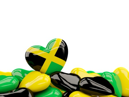 Heart with flag of jamaica on top of colourfull hearts isolated on white. 3D illustration