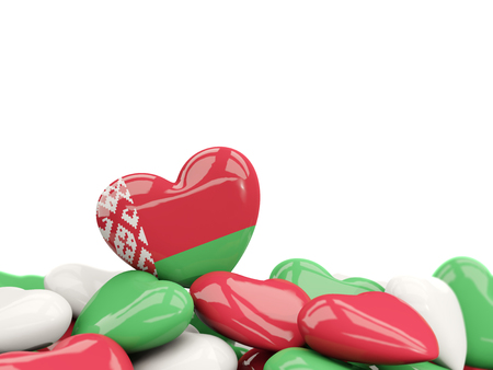 Heart with flag of belarus on top of colourfull hearts isolated on white. 3D illustration