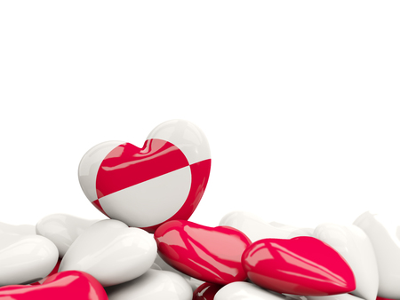 Heart with flag of greenland on top of colourfull hearts isolated on white. 3D illustration Stock Photo