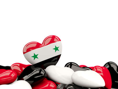 Heart with flag of syria on top of colourfull hearts isolated on white. 3D illustration Stock Photo