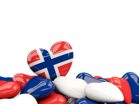 Heart with flag of norway on top of colourfull hearts isolated on white. 3D illustration