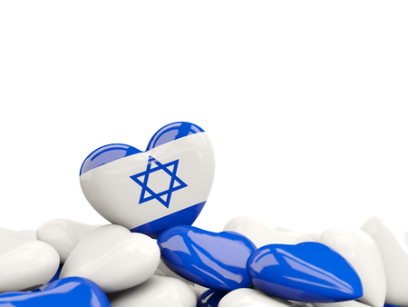 Heart with flag of israel on top of colourfull hearts isolated on white. 3D illustration