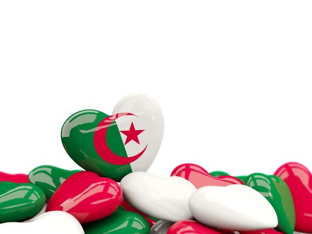 Heart with flag of algeria on top of colourfull hearts isolated on white. 3D illustration