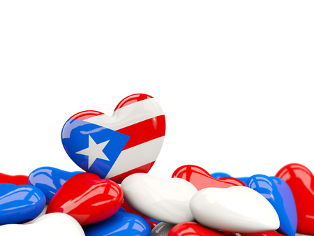 Heart with flag of puerto rico on top of colourfull hearts isolated on white. 3D illustration Stock Photo