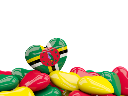 Heart with flag of dominica on top of colourfull hearts isolated on white. 3D illustration Stock Photo