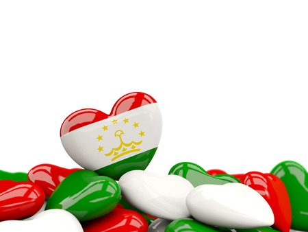 Heart with flag of tajikistan on top of colourfull hearts isolated on white. 3D illustration