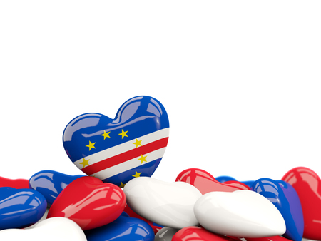 Heart with flag of cape verde on top of colourfull hearts isolated on white. 3D illustration