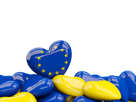 Heart with flag of european union on top of colourfull hearts isolated on white. 3D illustration Stock Photo