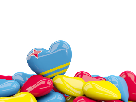 Heart with flag of aruba on top of colourfull hearts isolated on white. 3D illustration Stock Photo
