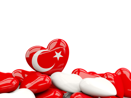 Heart with flag of turkey on top of colourfull hearts isolated on white. 3D illustration