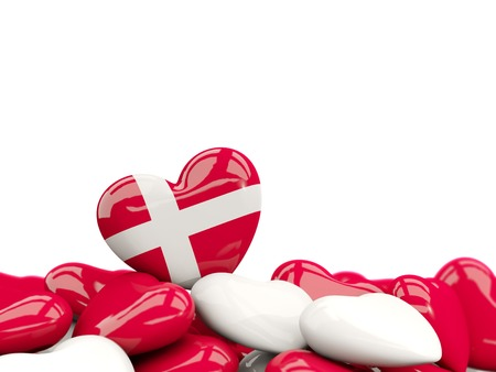 Heart with flag of denmark on top of colourfull hearts isolated on white. 3D illustration