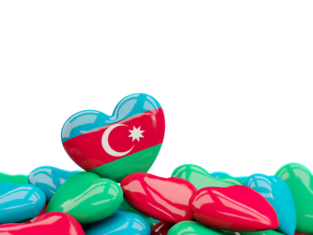 Heart with flag of azerbaijan on top of colourfull hearts isolated on white. 3D illustration Stock Photo