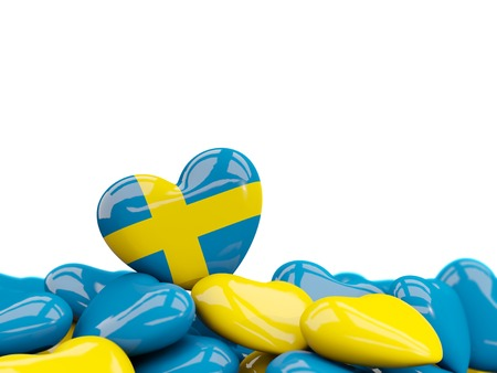 Heart with flag of sweden on top of colourfull hearts isolated on white. 3D illustration