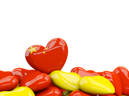 Heart with flag of china on top of colourfull hearts isolated on white. 3D illustration