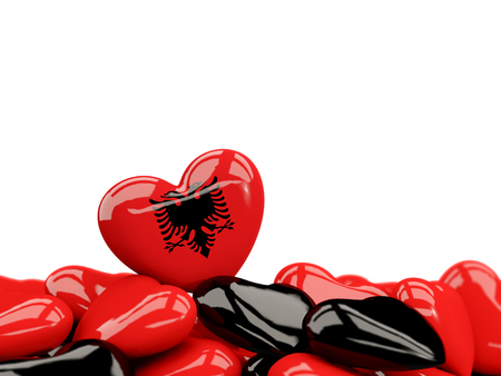 Heart with flag of albania on top of colourfull hearts isolated on white. 3D illustration Stock Photo