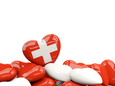 Heart with flag of switzerland on top of colourfull hearts isolated on white. 3D illustration
