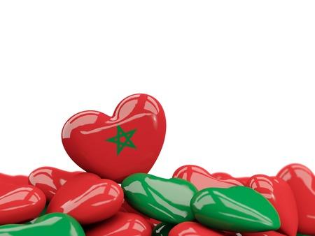 Heart with flag of morocco on top of colourfull hearts isolated on white. 3D illustration