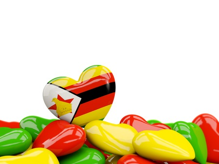 Heart with flag of zimbabwe on top of colourfull hearts isolated on white. 3D illustration Stock Photo