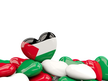 Heart with flag of palestinian territory on top of colourfull hearts isolated on white. 3D illustration