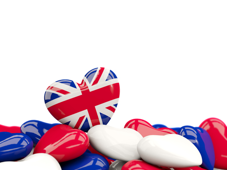 Heart with flag of united kingdom on top of colourfull hearts isolated on white. 3D illustration
