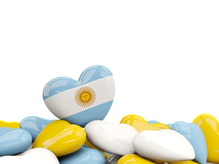 Heart with flag of argentina on top of colourfull hearts isolated on white. 3D illustration
