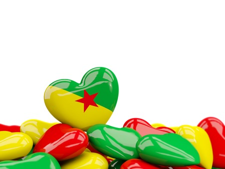 guiana: Heart with flag of french guiana on top of colourfull hearts isolated on white. 3D illustration