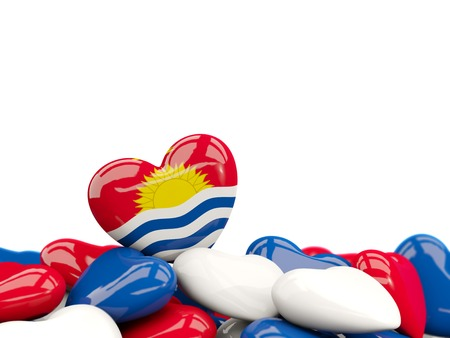 Heart with flag of kiribati on top of colourfull hearts isolated on white. 3D illustration