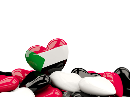 Heart with flag of sudan on top of colourfull hearts isolated on white. 3D illustration