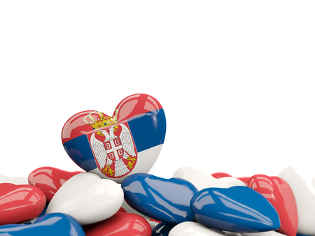 Heart with flag of serbia on top of colourfull hearts isolated on white. 3D illustration Stock Photo