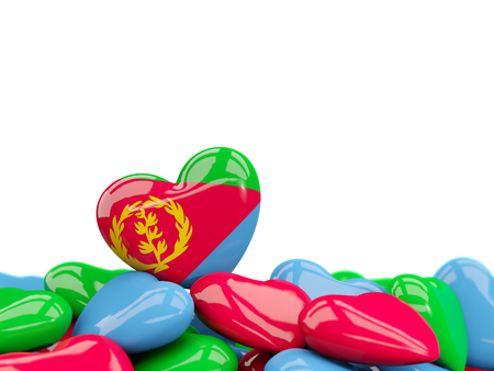 Heart with flag of eritrea on top of colourfull hearts isolated on white. 3D illustration