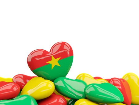 Heart with flag of burkina faso on top of colourfull hearts isolated on white. 3D illustration